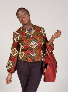 Red African waxprint peplum Jacket size12.5