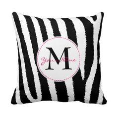 Custom Zebra Print Monogram Throw Pillows