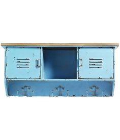 Nordal Wandkast / kapstok Raw 6 haaks blauw