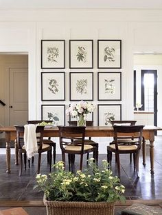 Oversized botanical prints in the dining room. Probably not DIY for most... but I could totally do that for a dining room