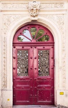 Paris pink doors by Georgianna Lane