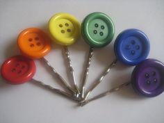 rainbow button bobby pins