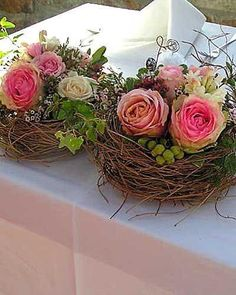 Floral arrangement in birds nest