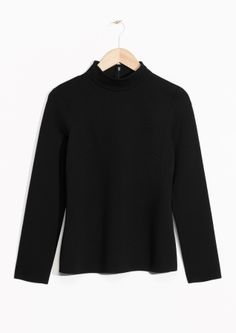 & Other Stories image 2 of Figure Shaped Mock Collar Top in Black