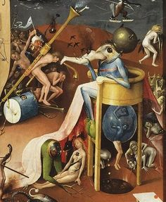 "Few artworks sum up the wild ecstasy and weirdness of lust better than Hieronymus Bosch's famed triptych ""Garden of Earthly Delights"" Hieronymus Bosch Paintings, Collages, Medieval Paintings, Garden Of Earthly Delights, Renaissance Artists, Weird Creatures, Surreal Art, Traditional Art, Les Oeuvres"