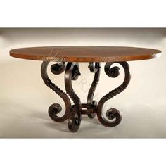 Copper Top Dining Table W/ Heavy Twisted Iron Base