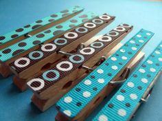 altered clothes pins | Memo Clips altered decorative clothespins with ribbon---Pebbles