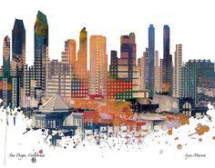 San Diego Skyline , Skyline, San Diego Print, Architecture, Urban Art, Print, Poster, Modern Art, Painting, Watercolor, Wall Art,