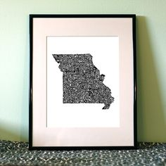 typographic Missouri map art print - this piece features the state of Missouri formed from each county's name written in the proper place and shape of that county.  (other states available)