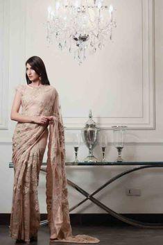 Beige off white casual party saree latest Pakistani saree designs 2017