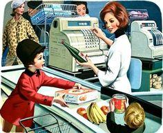Retro / Illustration - Marcel Marlier - grocery shopping