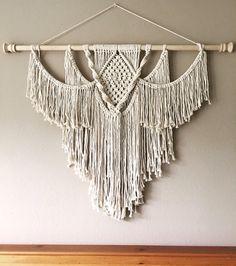Items similar to Large Macrame Wall Hanging on Etsy Macrame Design, Macrame Art, Macrame Projects, Macrame Knots, Micro Macrame, Macrame Wall Hanging Patterns, Large Macrame Wall Hanging, Macrame Patterns, Modern Macrame