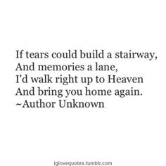 If tears could build a stairway, and memories a lane, I'd walk right up to Heaven and bring you home again.