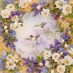 Lena Liu Hummingbirds with Roses