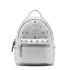 a069dcb06f47f MCM X-Mini Stark Special Crystal Studded Backpack In Sliver