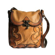 Two Tone Brown Leather Western Messenger by MeganLeoneVintage, $78.00 #leather #handbag #etsy