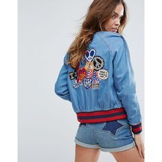 Tommy Hilfiger Gigi Hadid Denim Bomber Jacket (1.035 BRL) ❤ liked on Polyvore featuring outerwear, jackets, multi, blue denim jacket, bomber jacket, blue jackets, tall jackets and snap jacket