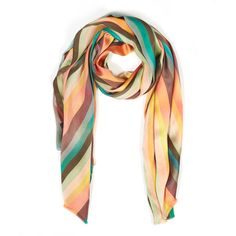 Paul Smith Accessories Multicolour Striped Silk Scarf (2.125 NOK) ❤ liked on Polyvore featuring accessories, scarves, paul smith scarves, paul smith, pure silk scarves, colorful shawl and colorful scarves