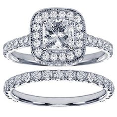 Set Diamond Encrusted Princess Cut Engagement Ring
