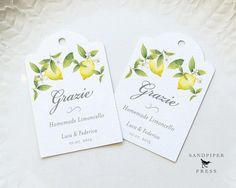 Grazie Limoncello Tags Personalized Gift Tags Wedding Favor Tags Custom Limoncello Labels Thank You Watercolor Lemon Set of 20 Inexpensive Wedding Favors, Wedding Decorations On A Budget, Wedding Gift Tags, Wedding Favours, Homemade Wedding Gifts, Personalized Gift Tags, Gift Labels, Product Labels, Watercolor Wedding