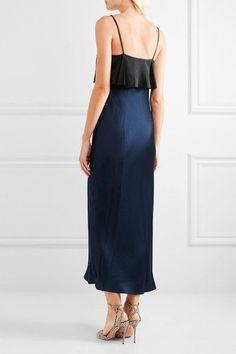 Diane von Furstenberg - Two-tone Hammered Silk-satin Midi Dress - Black - small