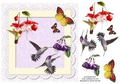 Birds and Butterflies on Craftsuprint designed by Diane Hannah - Birds and butterflies with decoupage elements. - Now available for download!