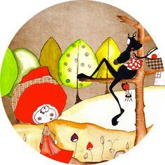 Stickers - L. Percheron - Badge Le Chaperon et le Loup espiègle
