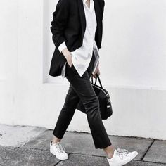 Outfit Ideas: How to Wear Sneakers to Work - Savoir Flair Cute Tomboy Outfits, Mode Outfits, Casual Outfits, Office Outfits, Tomboy Fashion, Work Fashion, Fashion Outfits, Womens Fashion, High Fashion