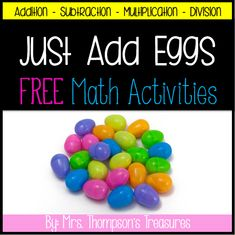 Grab some plastic eggs and put the math problems inside for a quick and engaging math activity! Put them in a basket or hide them around the room for some extra fun! Includes addition, subtraction, multiplication, and division.