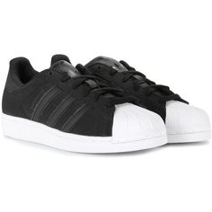 Adidas Superstar Sneakers (€92) ❤ liked on Polyvore featuring shoes, sneakers, adidas, black, black trainers, adidas sneakers, black shoes and adidas footwear
