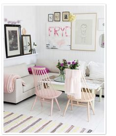 pastel pink chairs