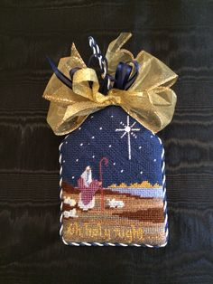 Oh Holy Night needlepoint ornament, designer unknown