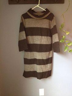 Marimekko Opossumi Wool Shift Dress Black Gray Striped Womans Size M Finland #Marimekko #Shift