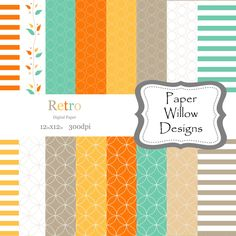 Retro-(16)-12x12 Digital Papers-300dpi-Instant Download-Circles-Dots-Vines-Colorful-Digital Paper-Stripes by PaperWillowDesigns on Etsy