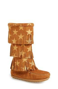 Minnetonka 'Star' Fringe Boot (Walker, Toddler, Little Kid & Big Kid) available at #Nordstrom