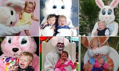 Parents shared hilarious pictures of their distraught children bursting into tears as they met the Easter bunny in shopping malls, parks, and at festive celebrations around the world.