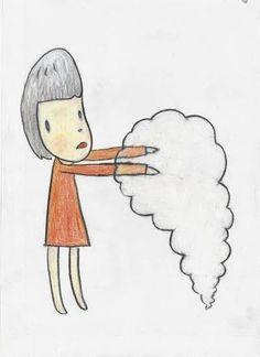 Yoshitomo Nara, Girl with Hands in Smoke