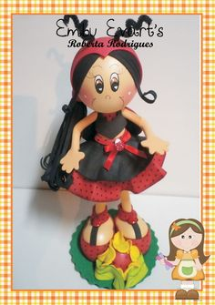 little girl in clay and fun foam dressed like a ladybug...very cute