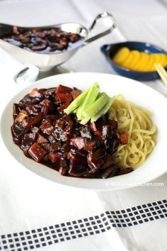 Korean Black Bean Sauce Noodles (Jajangmyeon) | MyKoreanKitchen.com