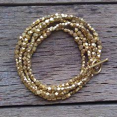 gold nuggets wrap bracelet