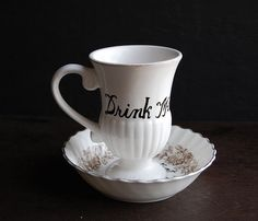 Drink Me Teacup Cup and Saucer
