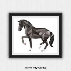 Noir imprimé cheval, Black Horse Wall Art, Black Horse mur Print, Triangle noir cheval, Animal géométrique, sticker géométrique, (art236)