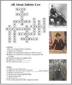 Answer Key for Juliette Low Crossword Puzzle. A great activity for Juniors or CSAs earning their Girl Scout Ways Badge, celebrating Founder's Day, Oct. 31 or Girl Scout Week in March. Free printable available at MakingFriends®.com