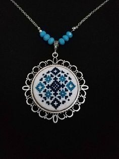 Cross Stitch Necklace Statement Jewelry Modern Kilim Turkish Rug Anatolian Snowflake Embroidery Pattern Pendant Unique Women Gift For Her Tiny Cross Stitch, Simple Cross Stitch, Cross Stitch Designs, Cross Stitch Patterns, Embroidery Jewelry, Hand Embroidery Designs, Indian Embroidery, Folk Embroidery, Embroidery Stitches