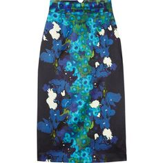 Erdem Dinah printed silk-satin pencil skirt