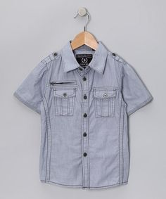 Take a look at this Steel Blue Woven Button-Up - Boys by Indigo Star on #zulily today!