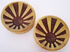 Rising Sun Wood Plugs (2 gauge - 2 inch)