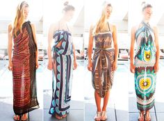 4 Innovative Ways to Wear a Chic Summer Sarong   http://www.harpersbazaar.com/fashion/fashion-articles/how-to-tie-sarong#slide-1