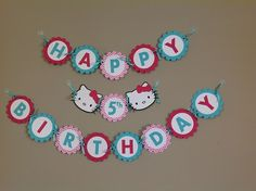 Pink/White Chevron with Teal Hello Kitty Inspired Birthday Banner