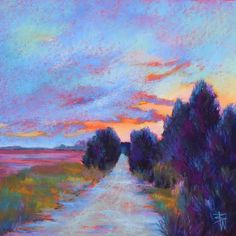 """""""To the Island"""" by Beth Williams, 13 x 13, pastel on sanded paper in acid free mat, $575"""